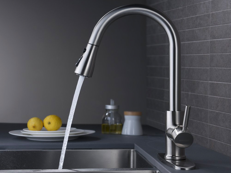best kitchen faucet WEWE Single Handle High Arc Pull out Kitchen Faucet
