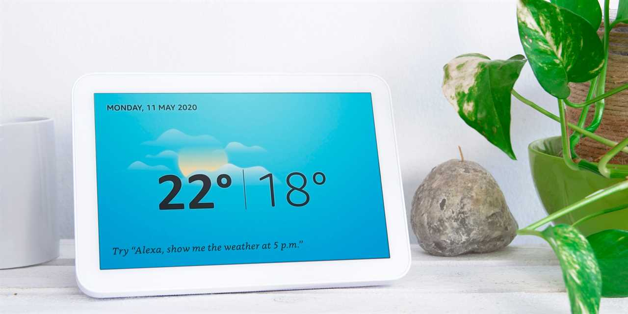 An Amazon Echo Show, displaying the weather.