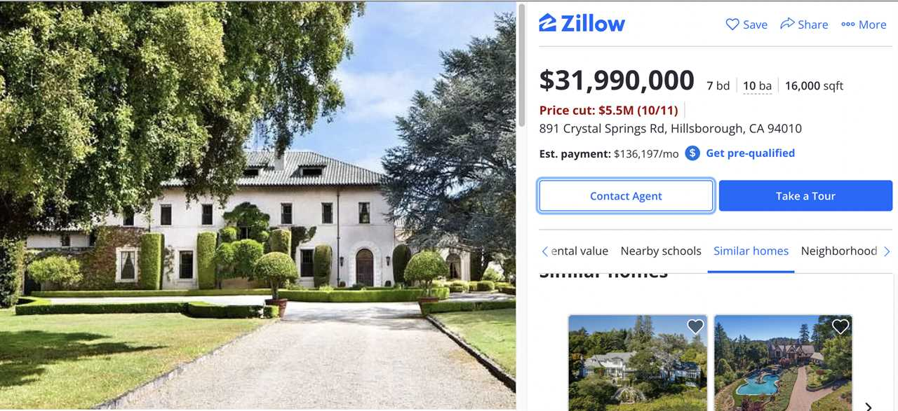 Zillow listing for Elon Musk's mansion, October 2021